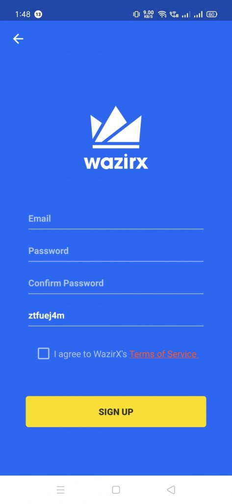 WazirX Referral code signup